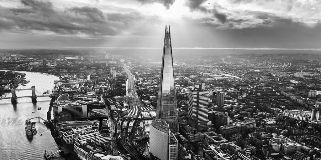 black and white photograph of the Shard and the southbank of Thames