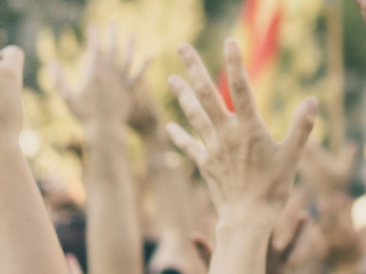 photograph of raised hands in demonstration